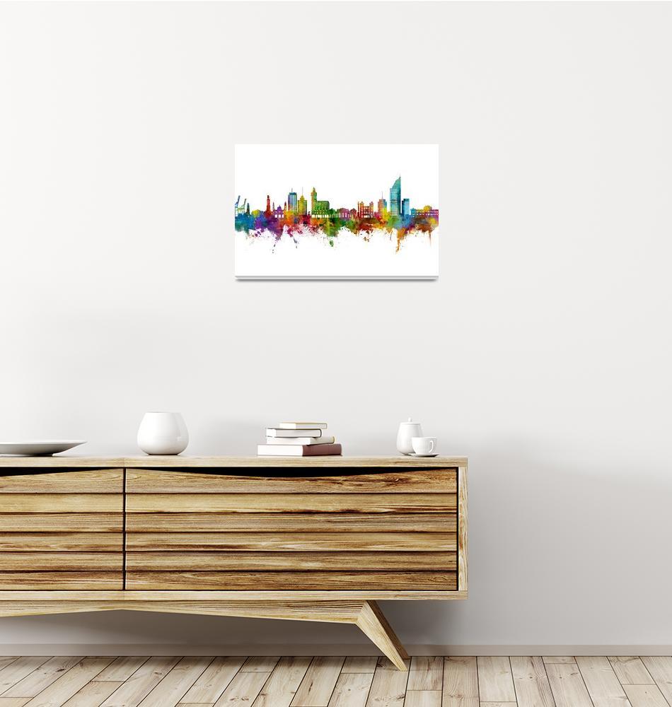 """Montevideo Skyline Uruguay""  (2021) by ModernArtPrints"