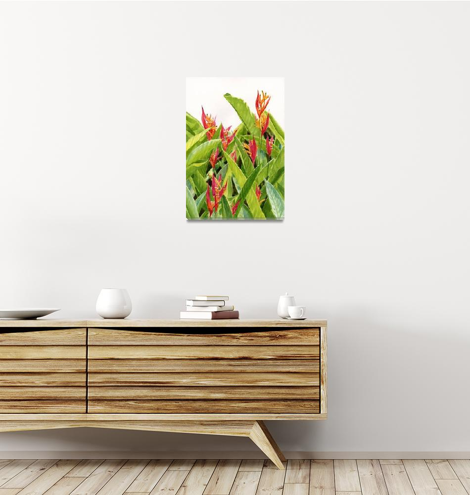 """""""Parrot Flower (red heliconia flowers and leaves)""""  (2013) by Pacific-NW-Watercolors"""