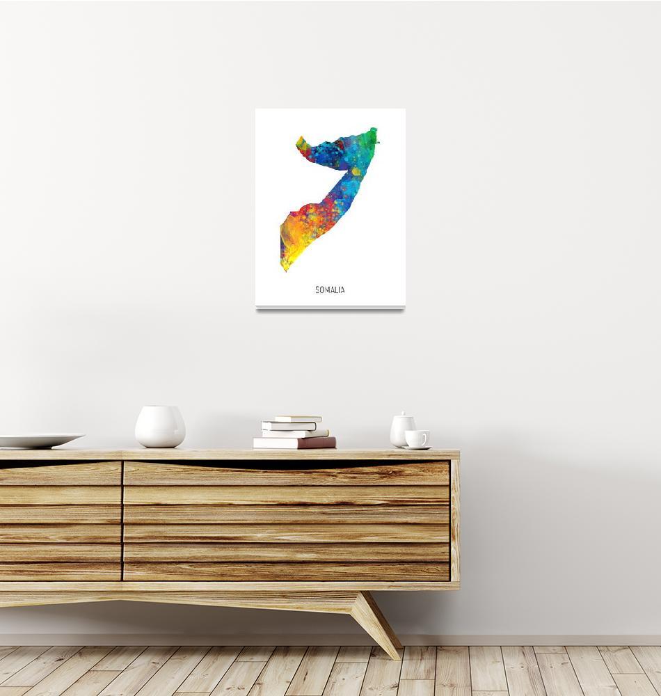 """Somalia Watercolor Map""  (2019) by ModernArtPrints"