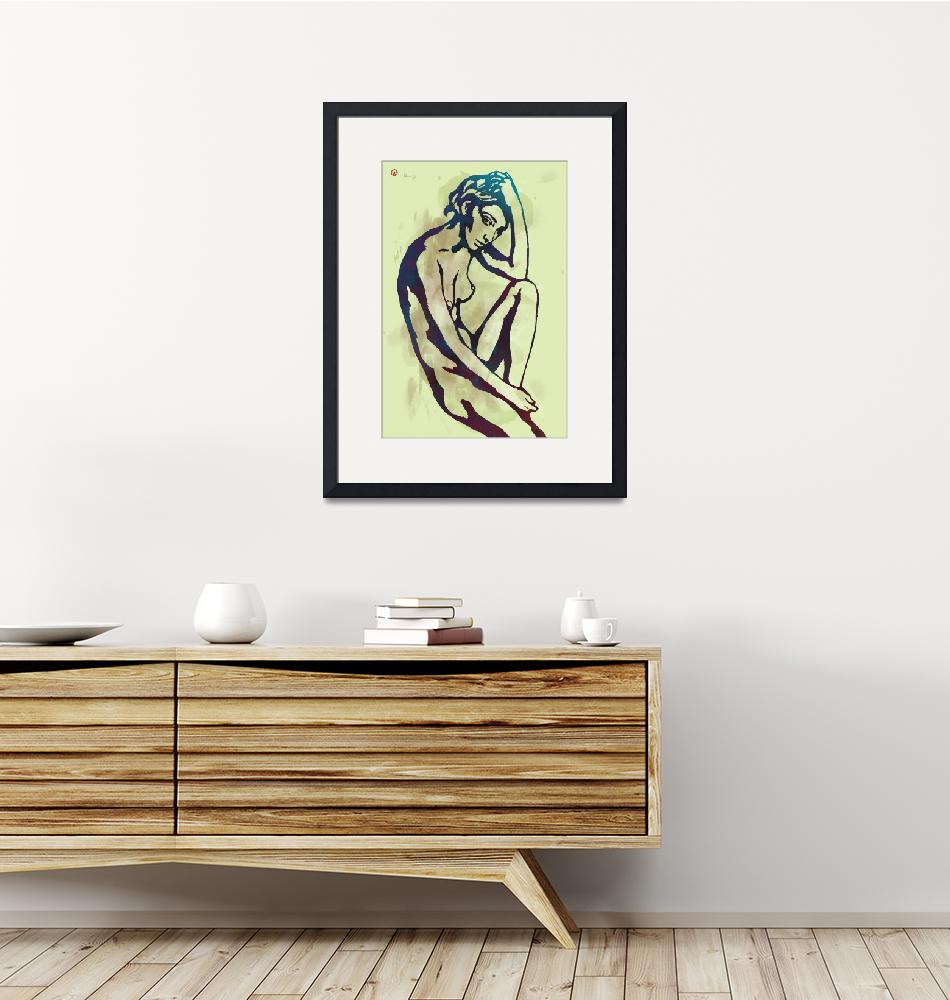 """Etching style nude pop art  poster""  (2015) by visualharbour"