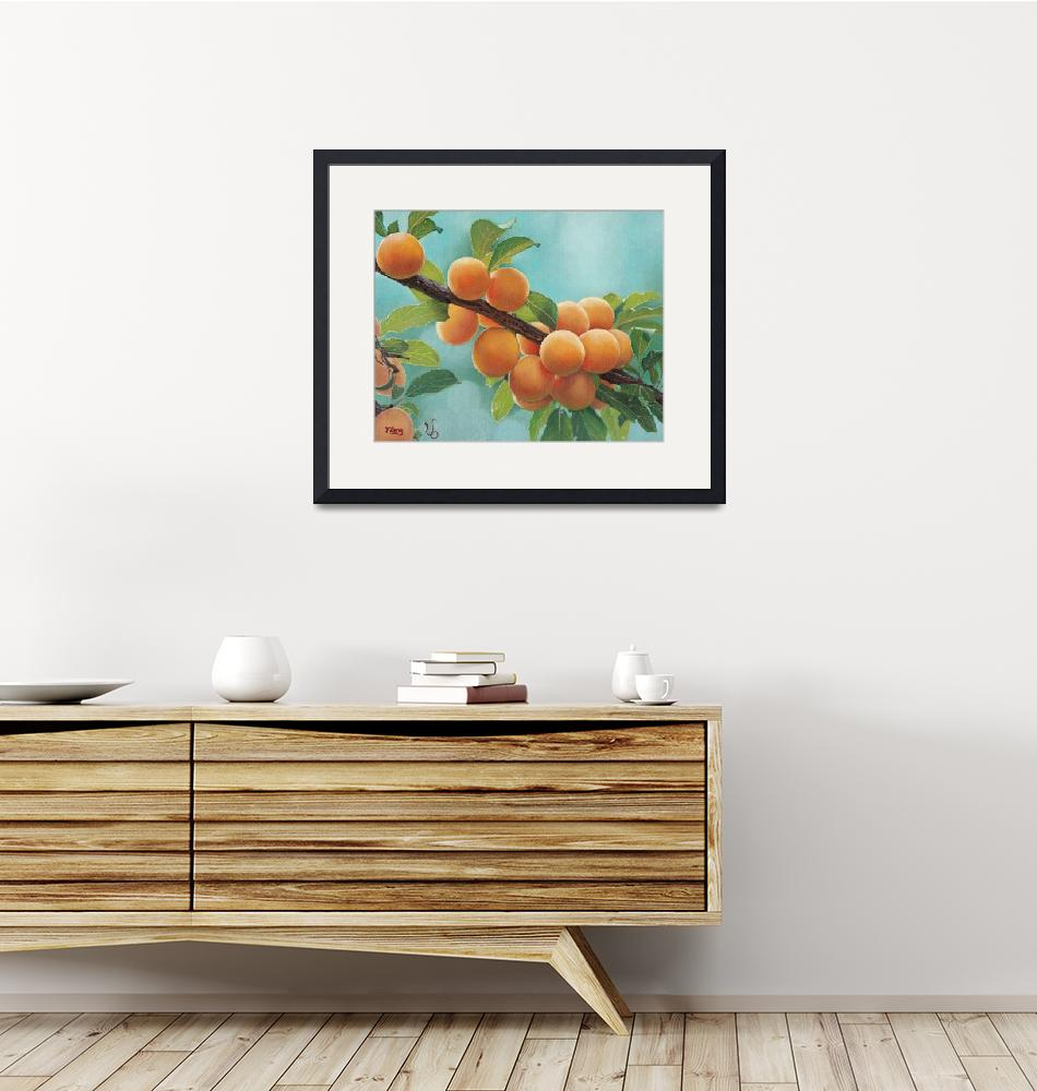 """""""Original oil painting Apricots"""" (2018) by yuezeng"""