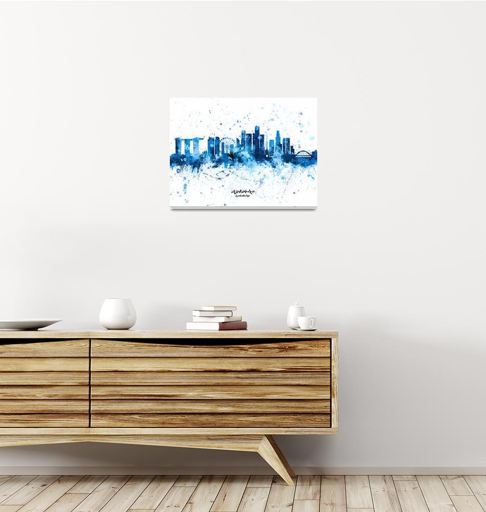 """Singapore Skyline""  (2019) by ModernArtPrints"