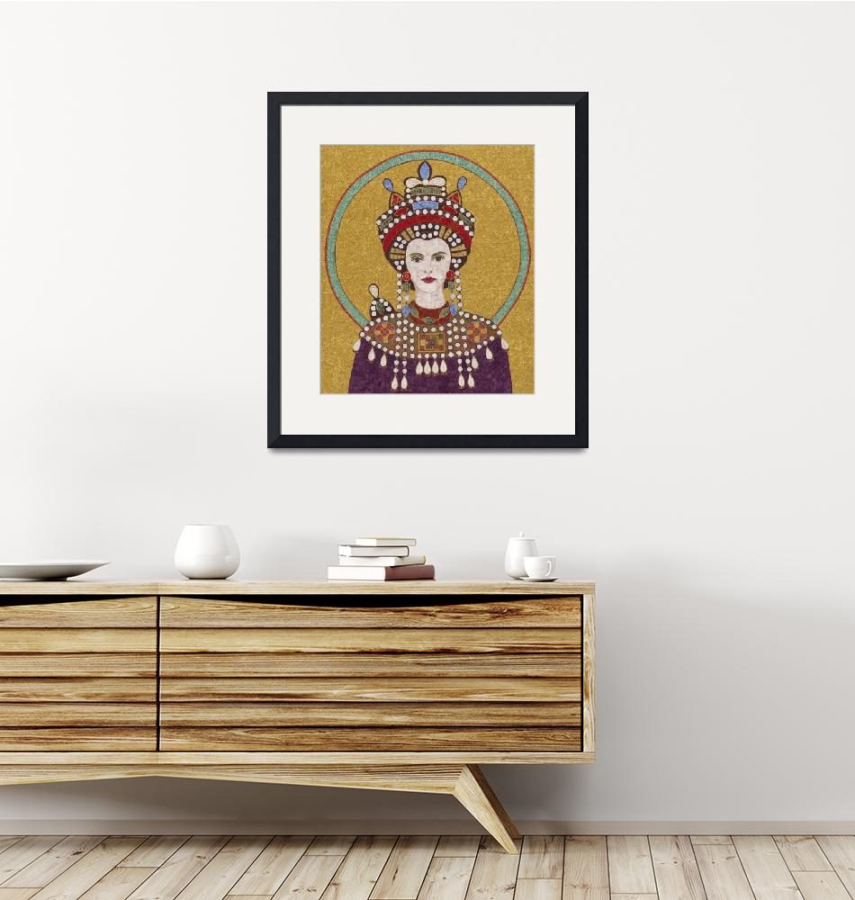 """""Empress Theodora""  fabric mosaic""  (2012) by RemnantWorks"
