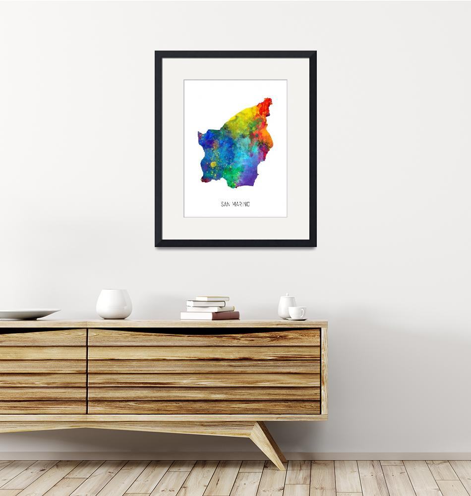 """San Marino Watercolor Map""  (2019) by ModernArtPrints"