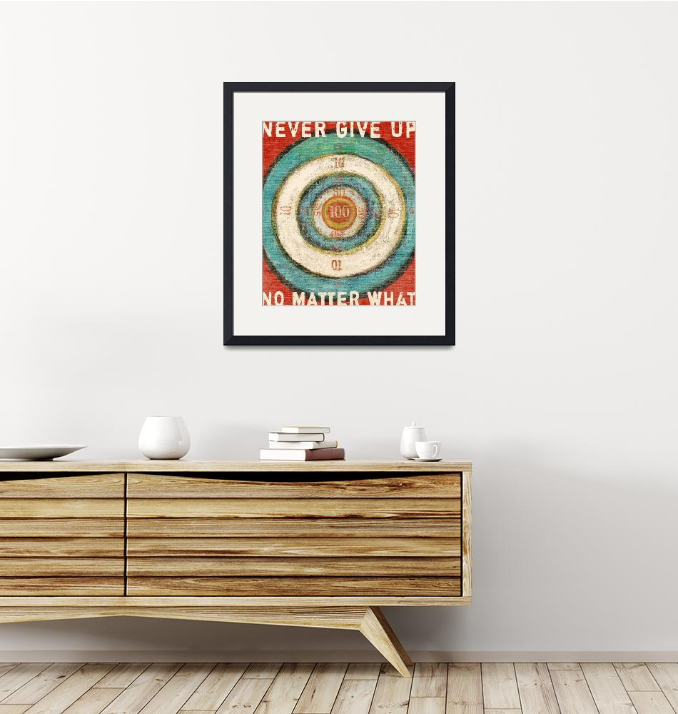 """""""VINTAGE DART BOARD - BULLSEYE - NEVER GIVE UP""""  (2008) by lisaweedn"""