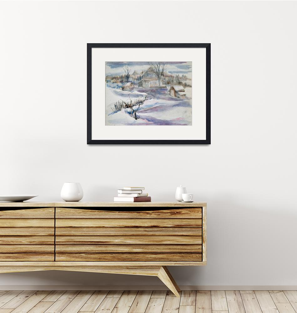 """""""Farm in Winter with Mauve""""  (2012) by AMVaughn"""