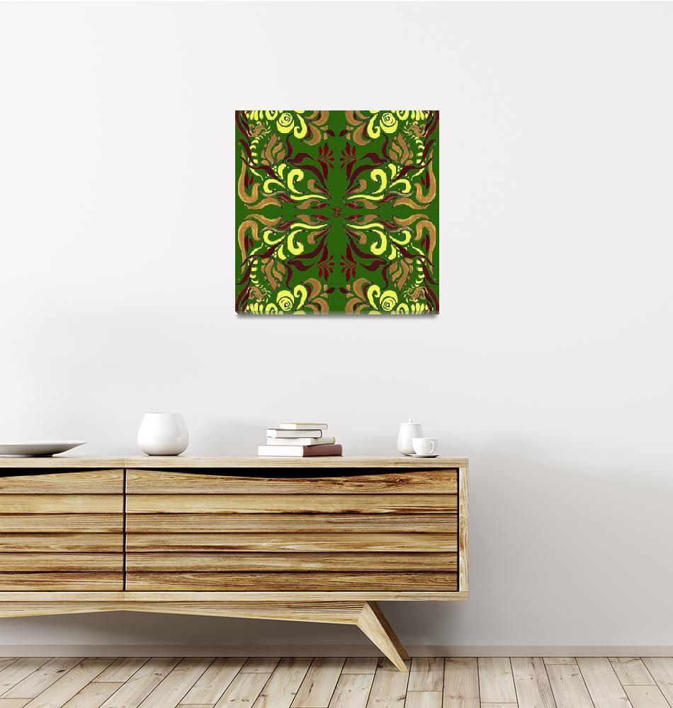 """Whimsical Organic Pattern In Green And Yellow II""  (2016) by IrinaSztukowski"