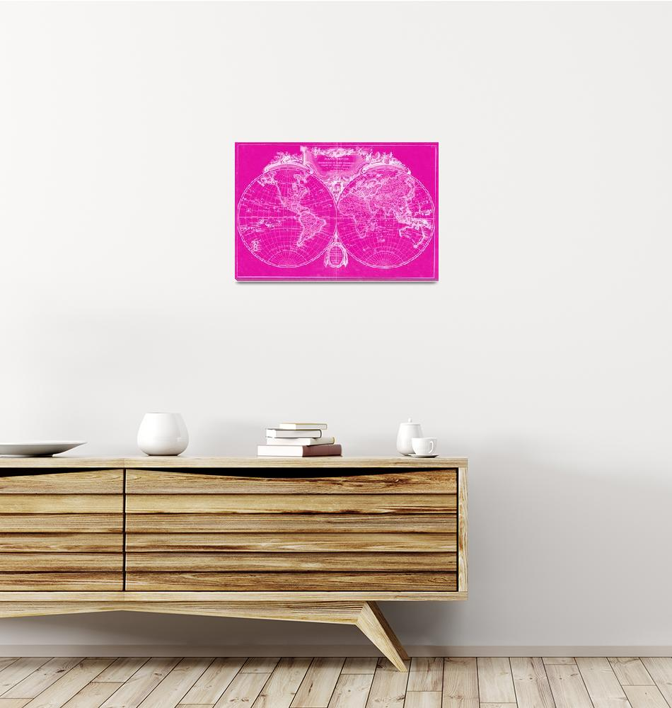 """""""World Map (1775) Pink & White""""  by Alleycatshirts"""