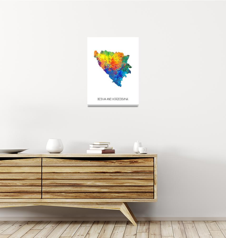 """Bosnia and Herzegovina Watercolor Map""  (2019) by ModernArtPrints"