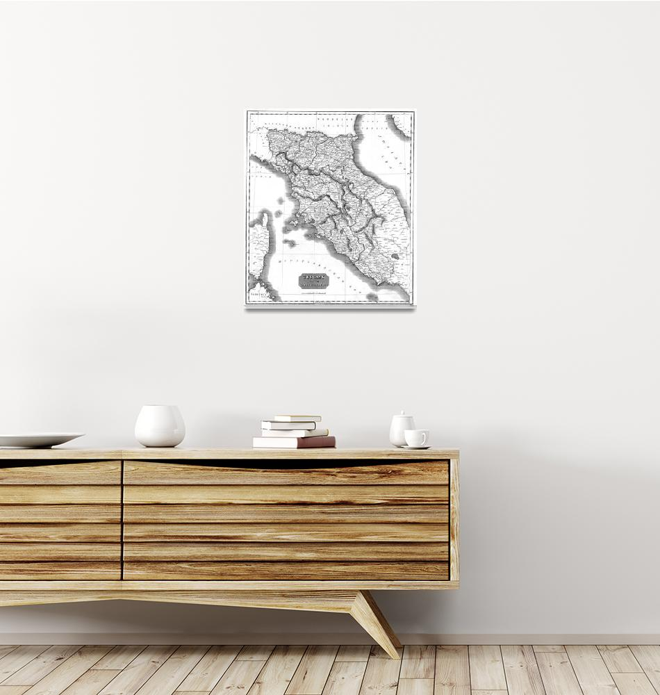 """""""Vintage Map of Tuscany Italy (1814) BW""""  by Alleycatshirts"""