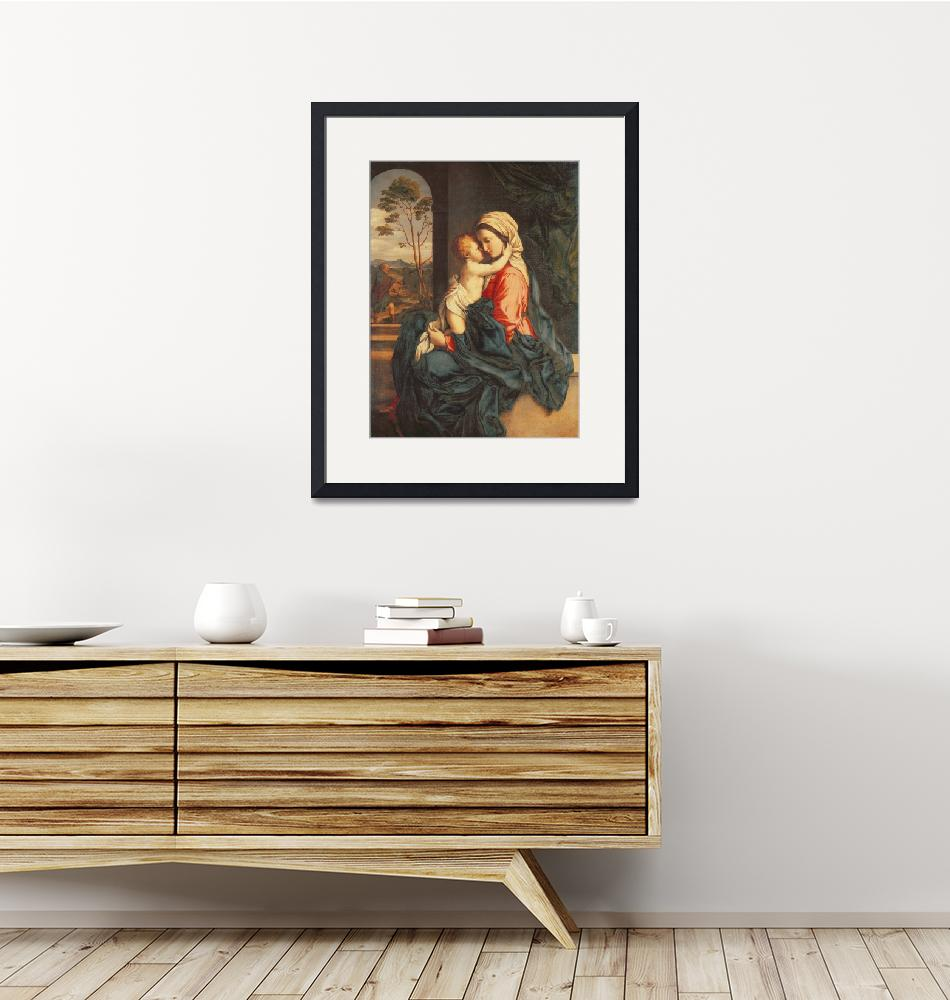 """""""The Virgin and Child Embracing by Il Sassoferrato""""  by fineartmasters"""