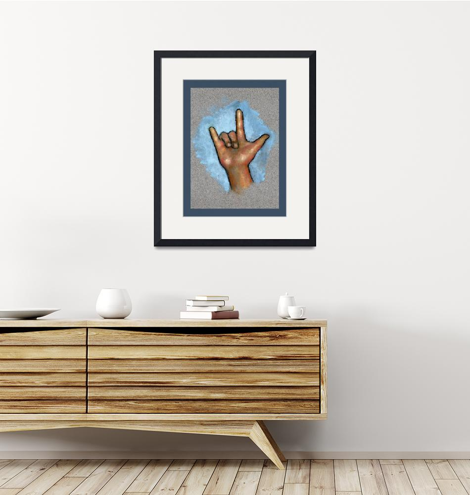 """Sign Language: Hand Making Sign for I Love You""  (2015) by joyart"