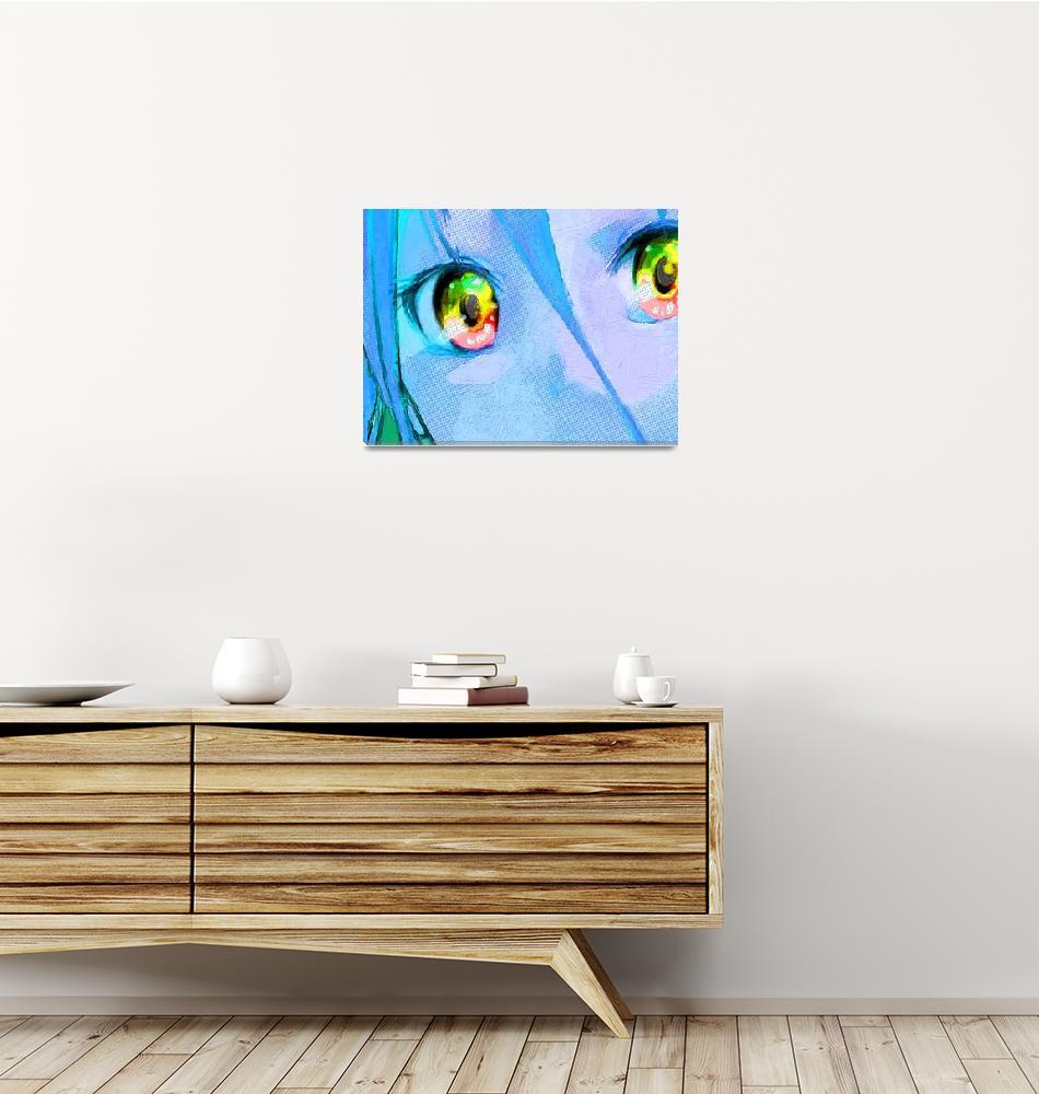 """Anime Girl Eyes Blue""  (2015) by RubinoFineArt"