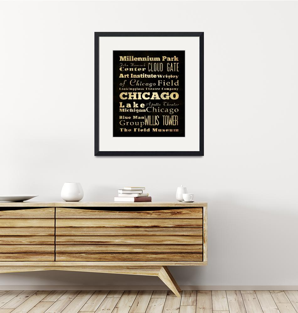 """LHA-181-Canvas-AG-US-City-Chicago-Raw-20X24""  by JoyHouseStudio"