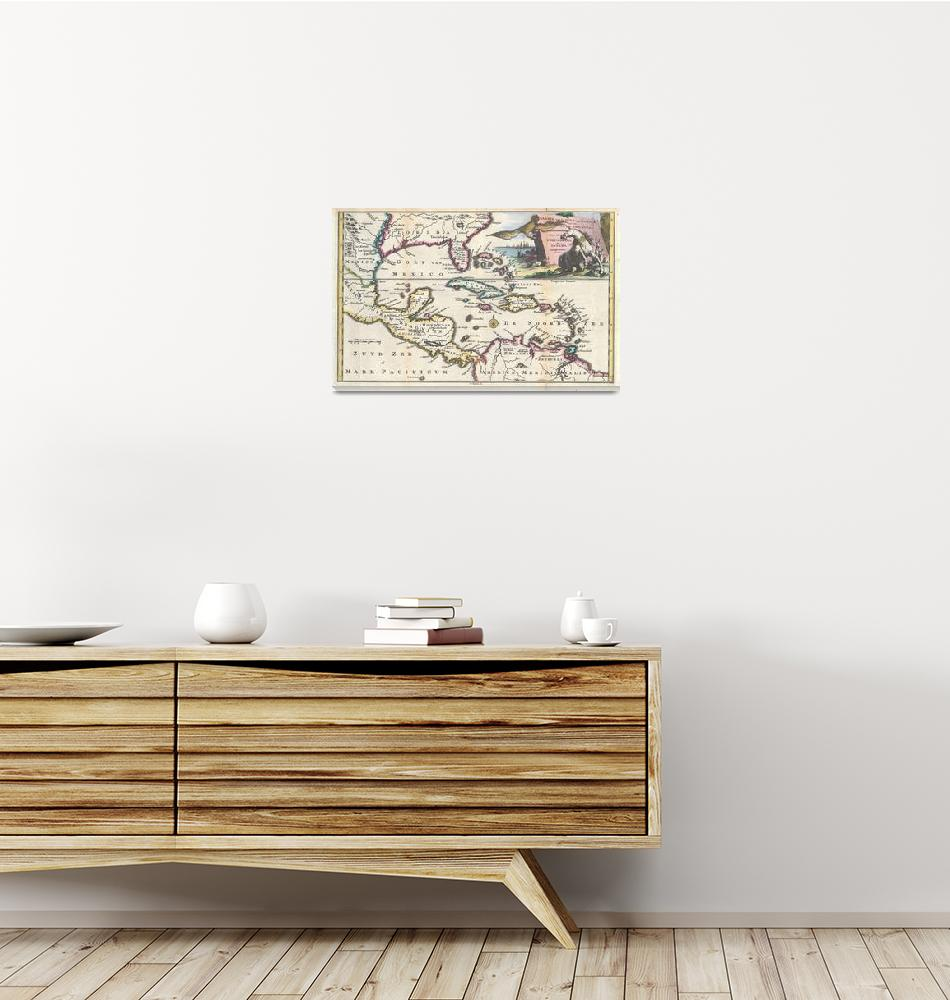 """""""Map of Florida, Mexico, & West Indies by Ruyter""""  by FineArtClassics"""