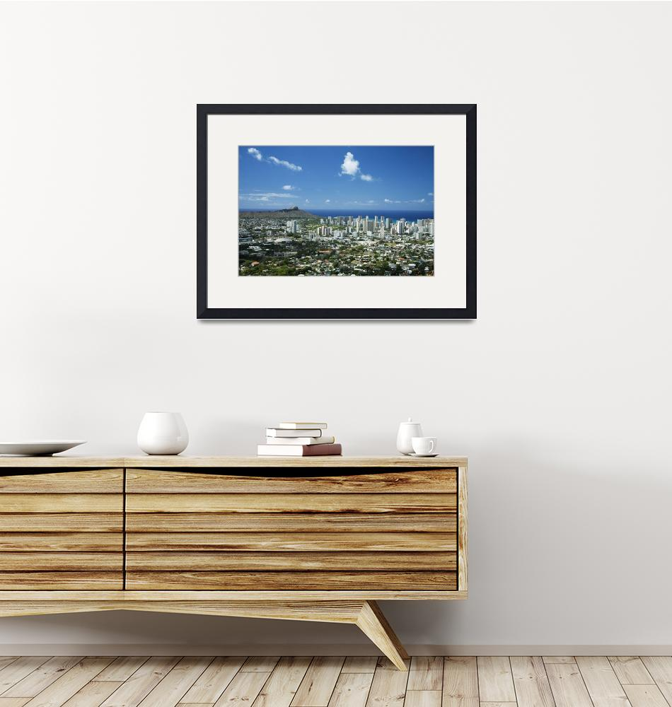 """Hawaii, Oahu, Diamond Head And Waikiki From Tantal""  by DesignPics"