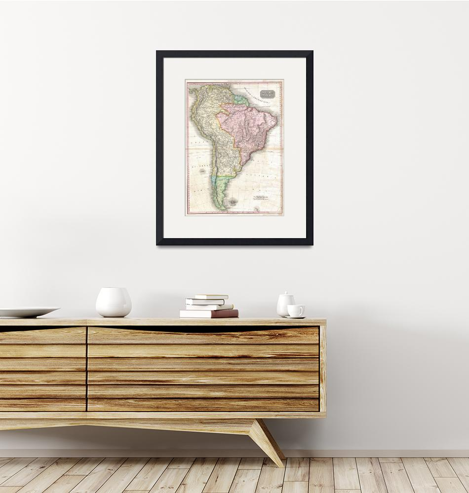 """""""Vintage Map of South America (1818)""""  by Alleycatshirts"""