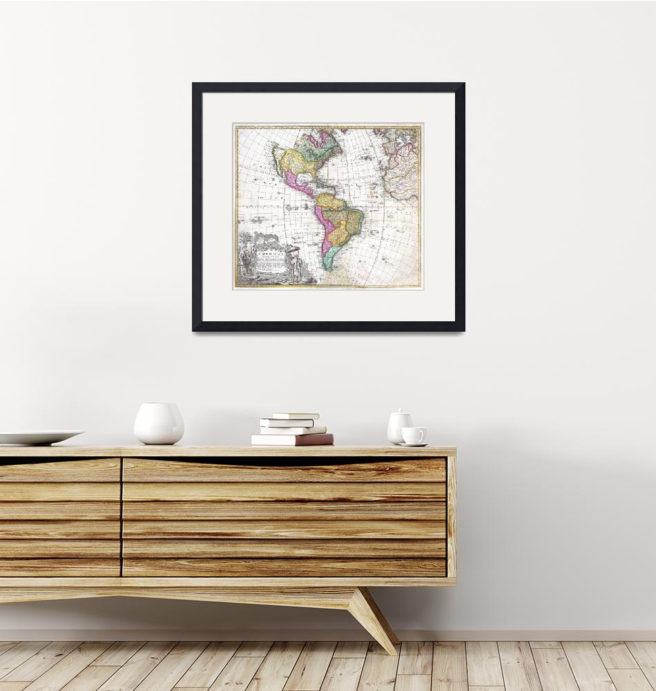 """Map of South & North America by Homann Heirs"" by FineArtClassics"