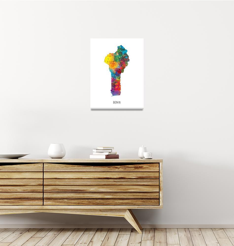 """Benin Watercolor Map""  (2019) by ModernArtPrints"