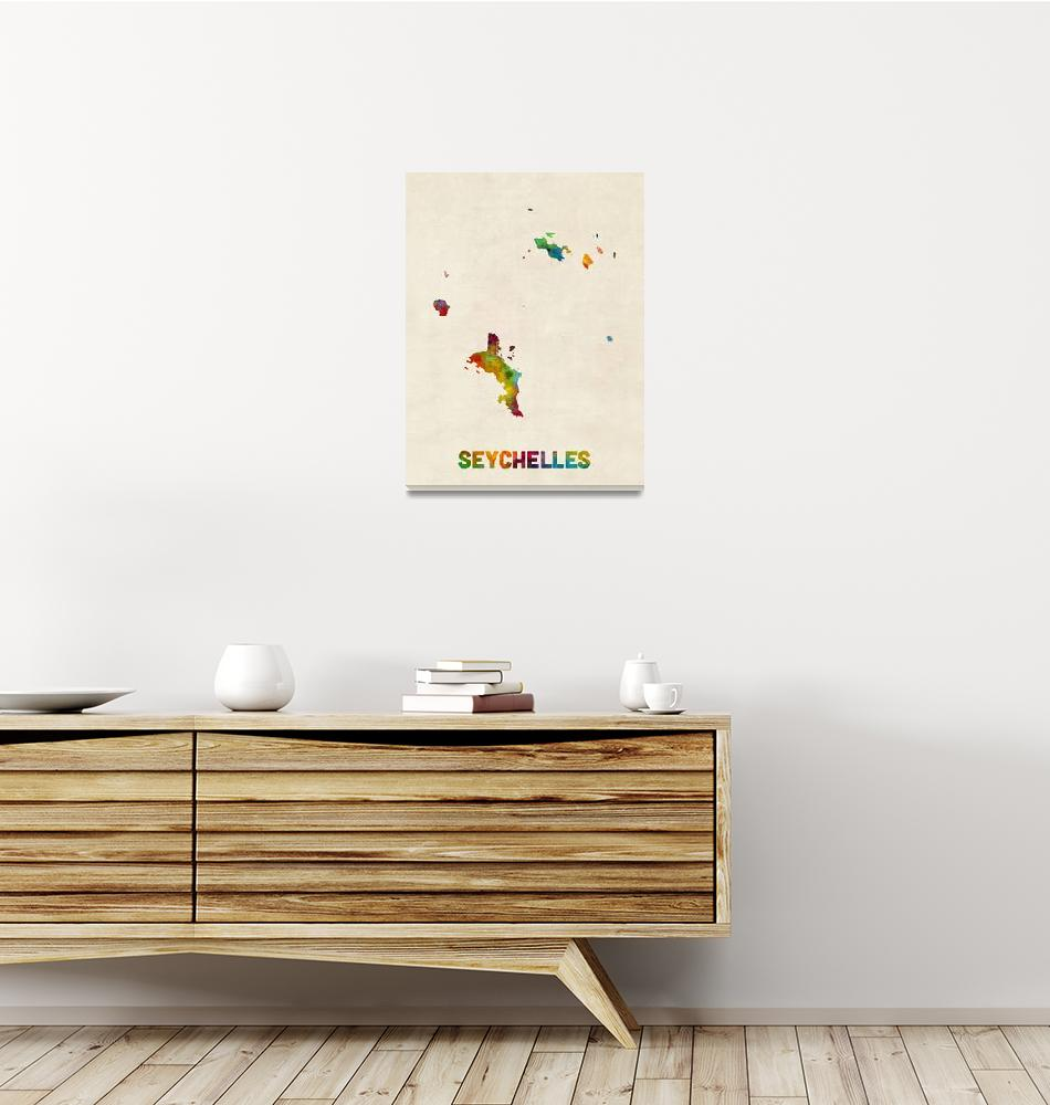 """Seychelles Watercolor Map""  (2018) by ModernArtPrints"