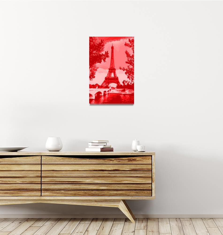 """Eiffel Tower Seine River Bridge Enhanced salmon""  (2013) by TheNorthernTerritory"
