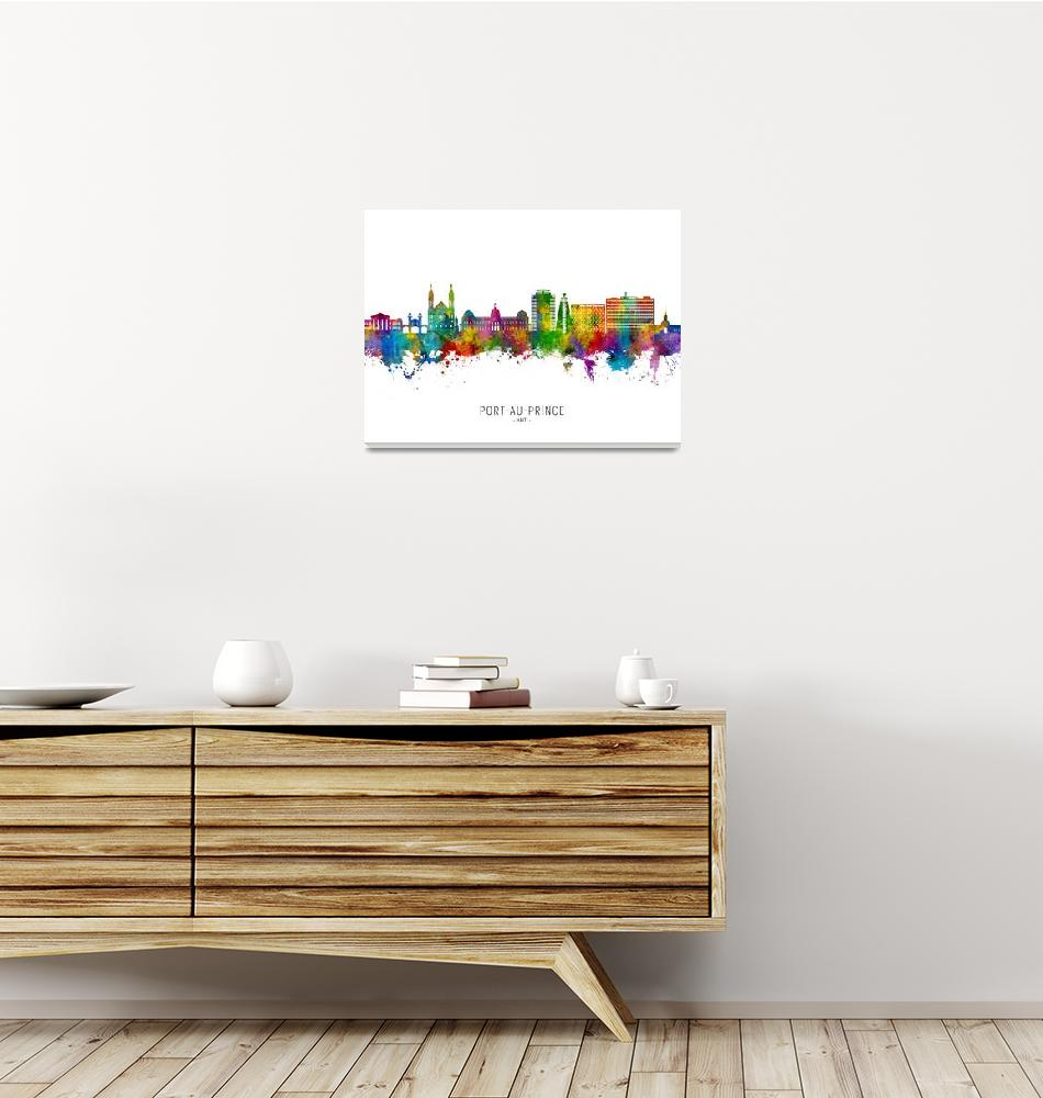 """Port-au-Prince Haiti Skyline""  (2021) by ModernArtPrints"
