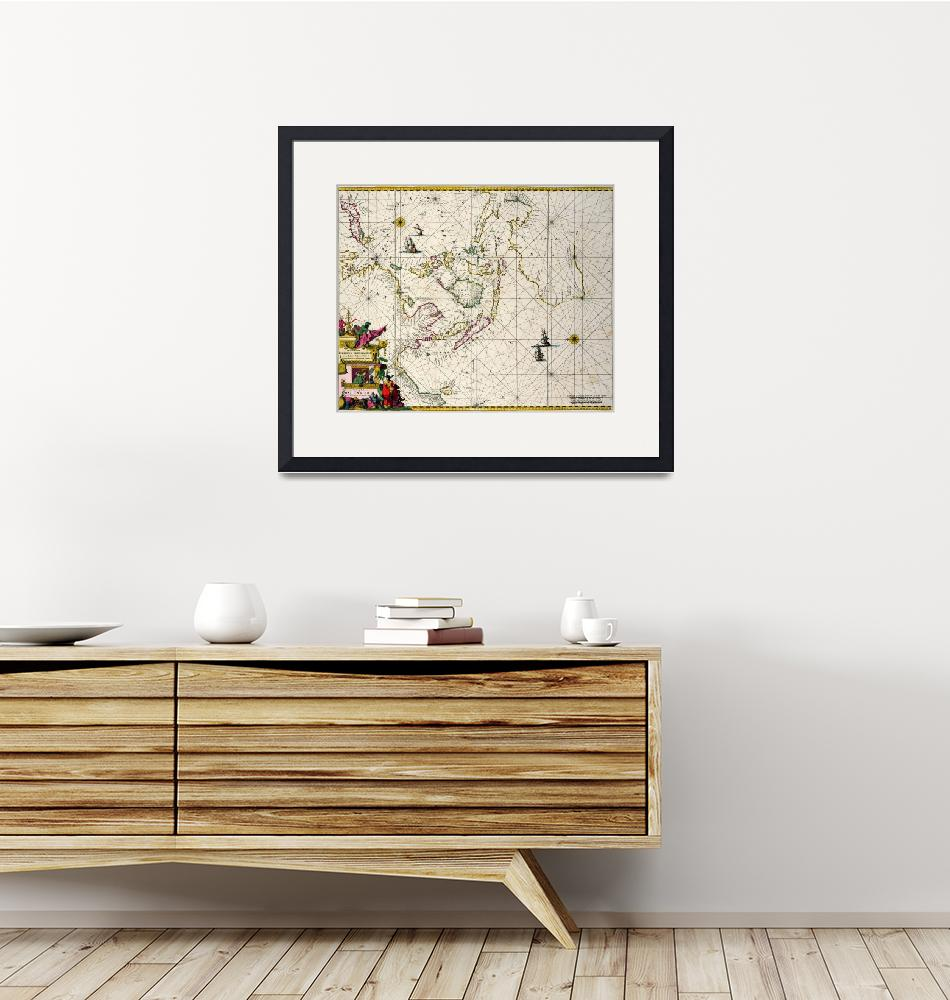"""""""East Indies: Sea and coastal chart""""  by fineartmasters"""