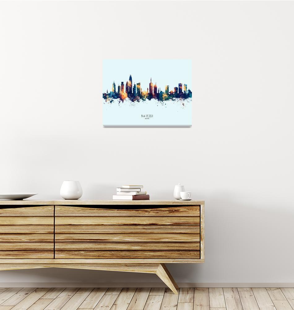 """Nairobi Kenya Skyline""  (2019) by ModernArtPrints"