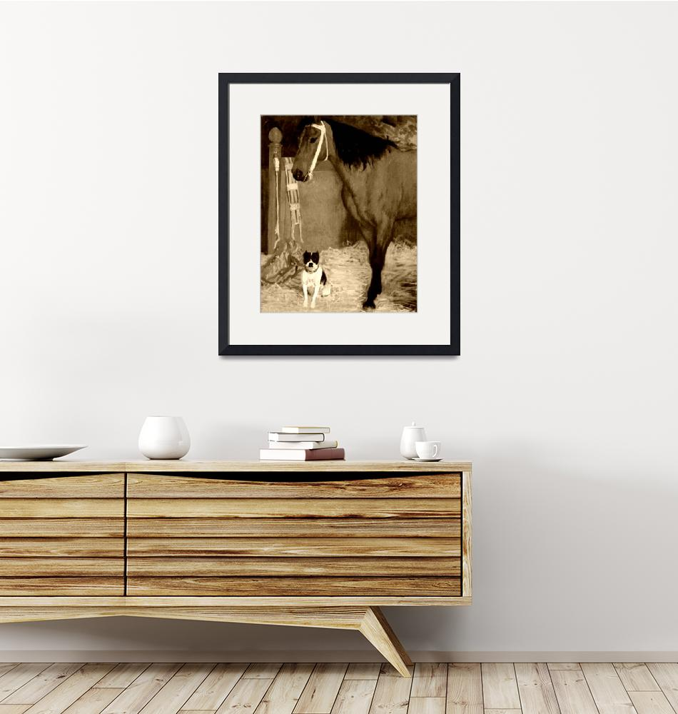 """""""Horse and dog at the stables 4""""  (2011) by bandtdigitaldesigns"""