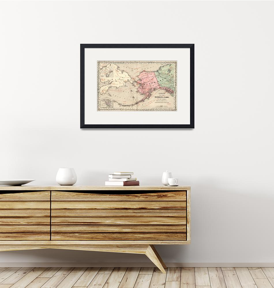 """Vintage Map of Alaska and Russia (1869)""  by Alleycatshirts"