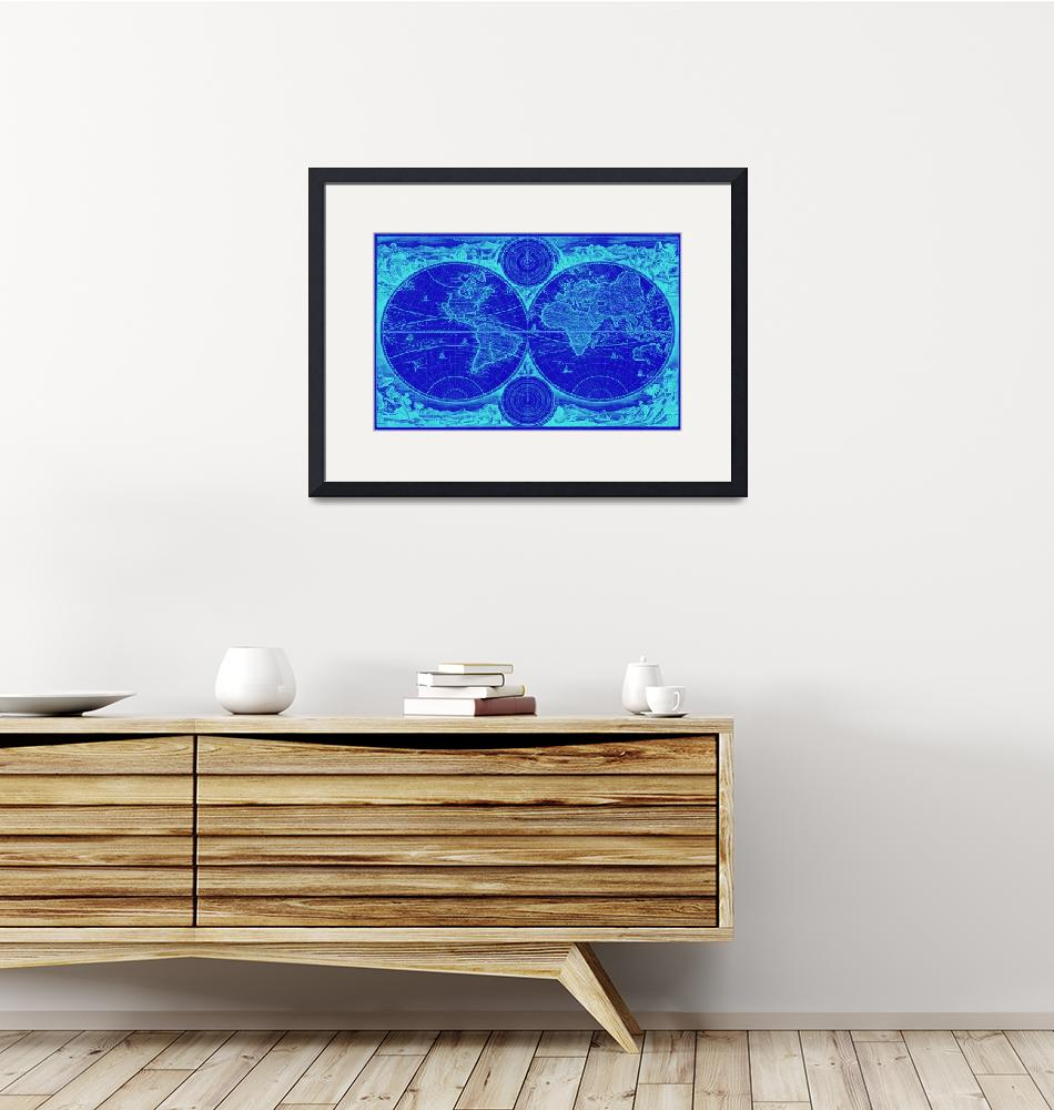 """World Map (1730) Blue & Light Blue""  by Alleycatshirts"