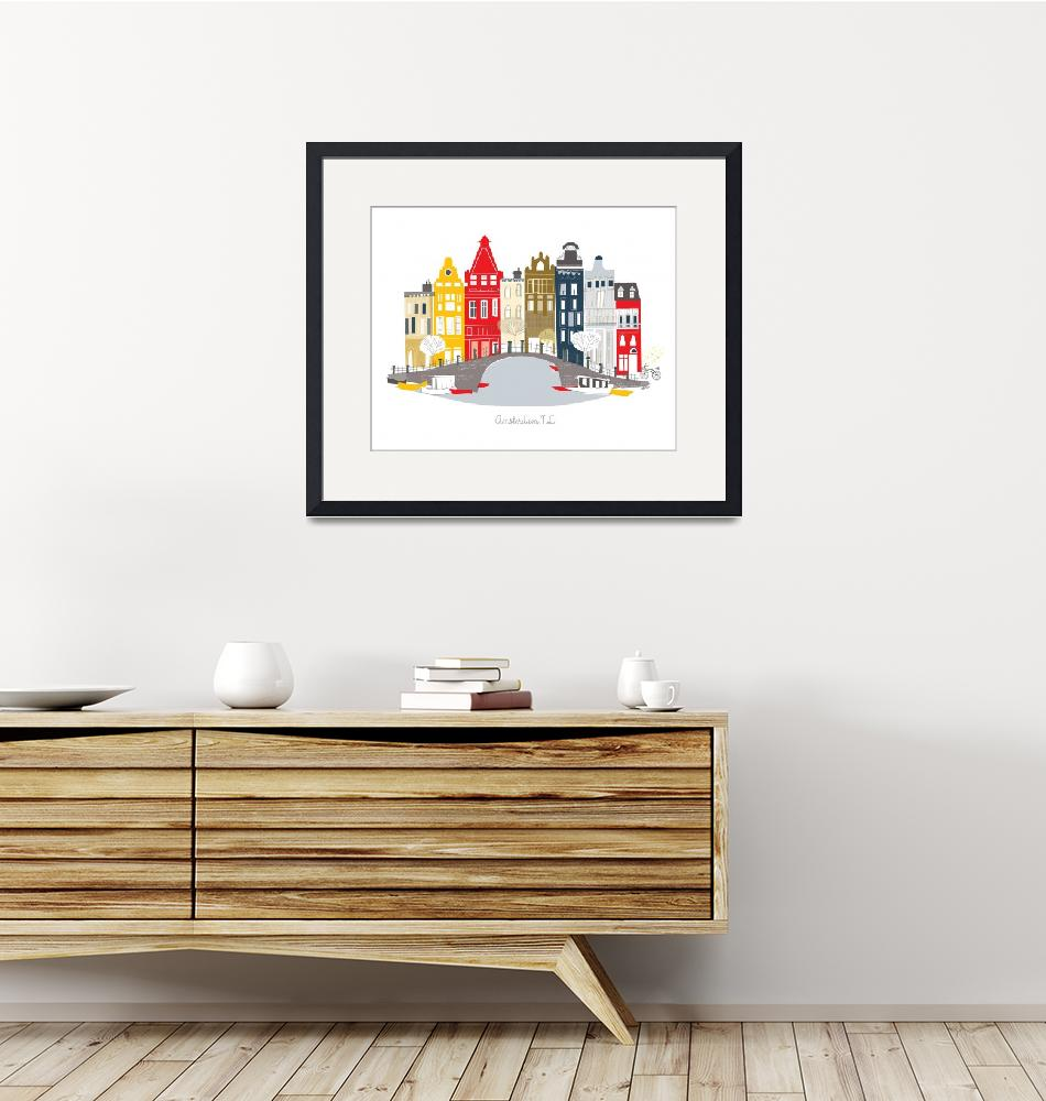"""Amsterdam Modern Cityscape Illustration""  by AlbieDesigns"