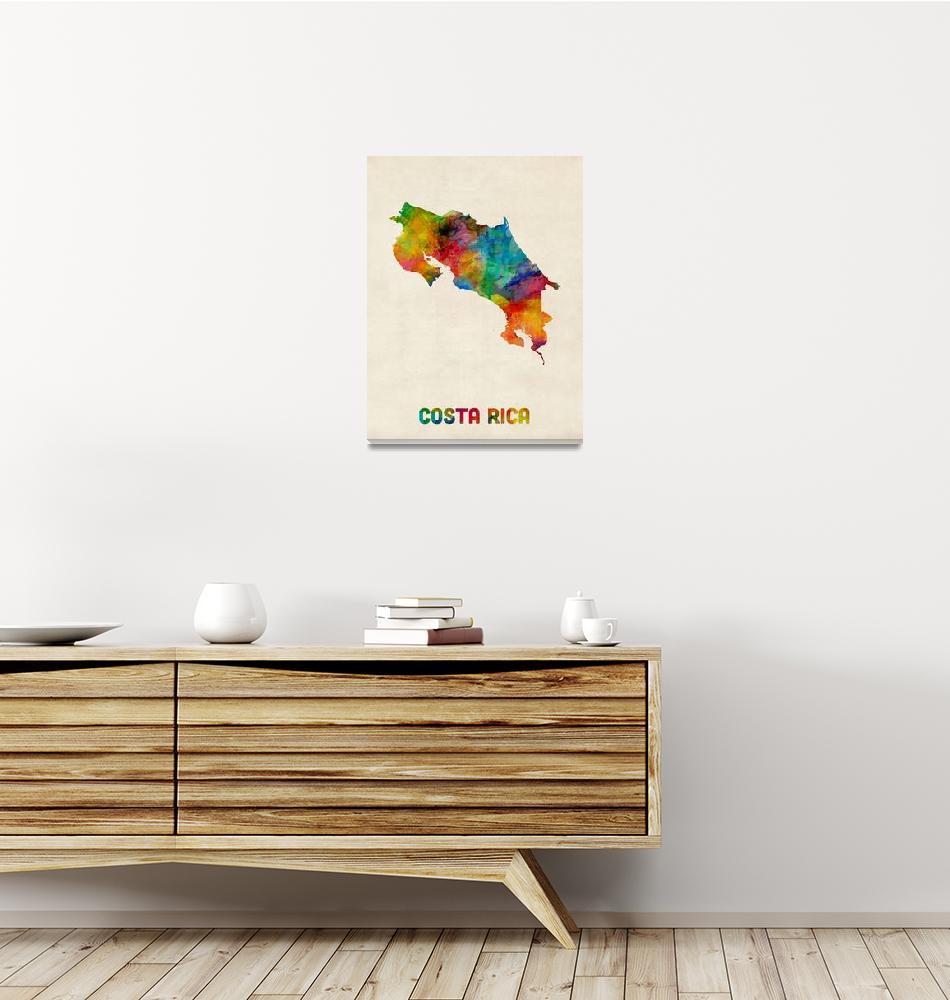 """Costa Rica Watercolor Map""  (2014) by ModernArtPrints"