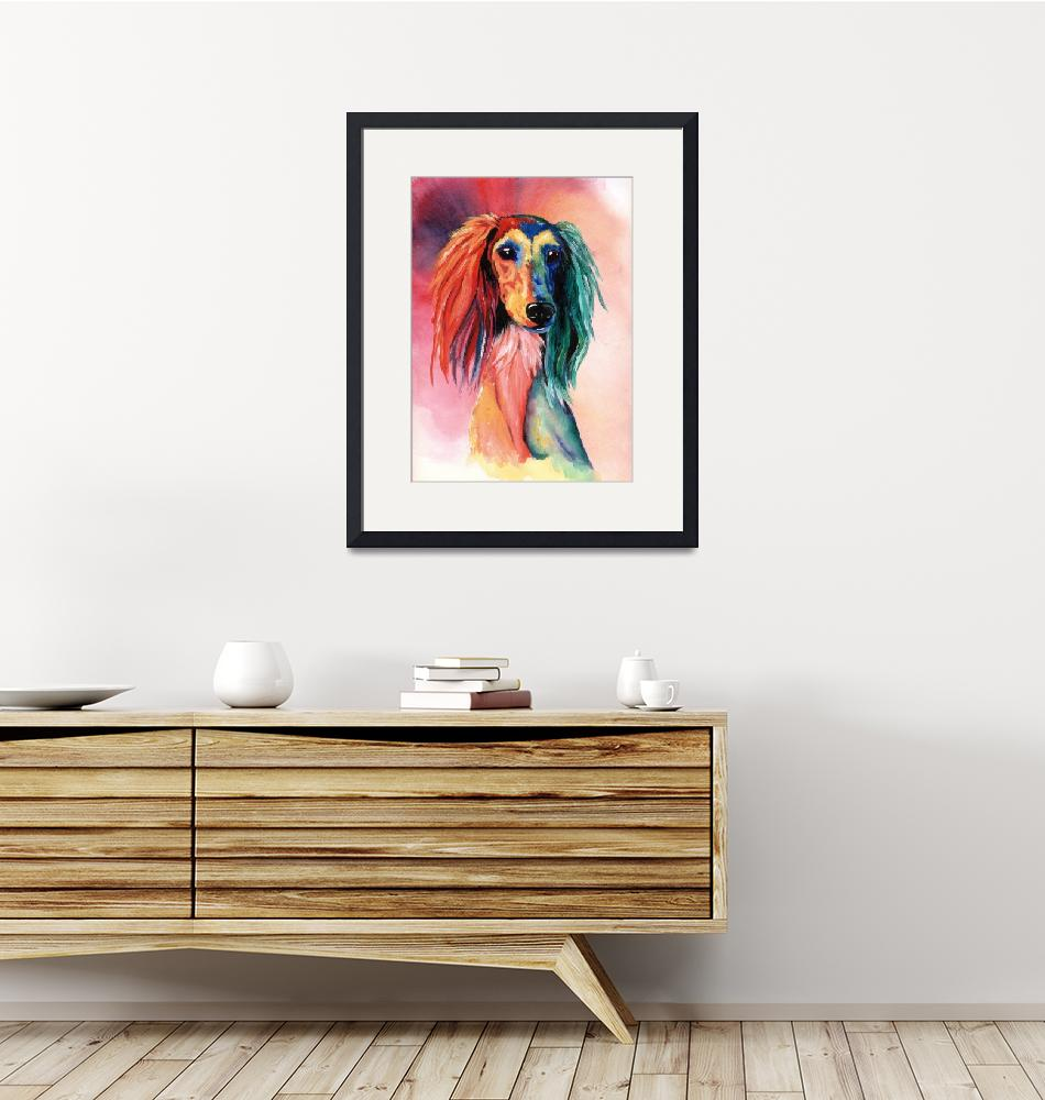 """Saluki Sunset""  (1999) by KathleenSepulveda"