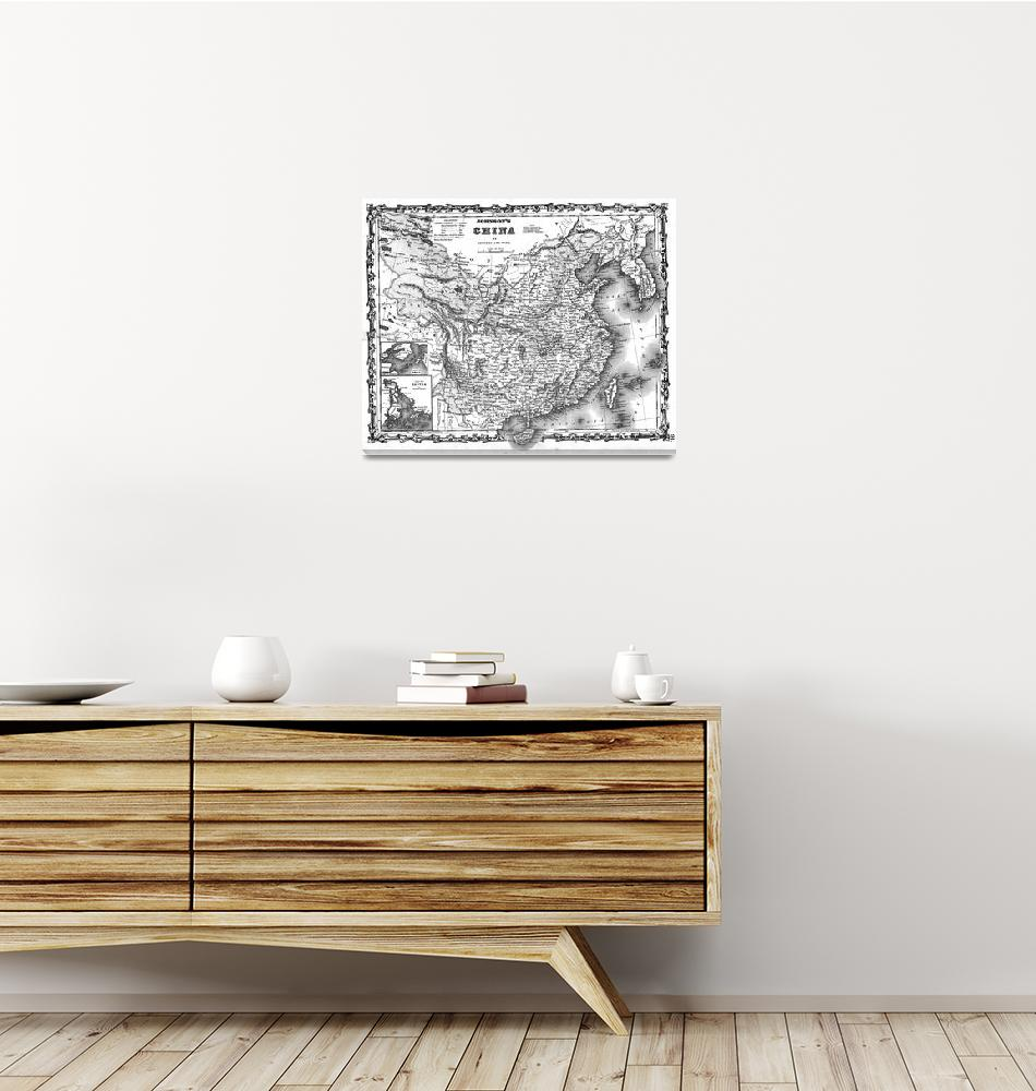 """""""Vintage Map of China (1862) BW""""  by Alleycatshirts"""