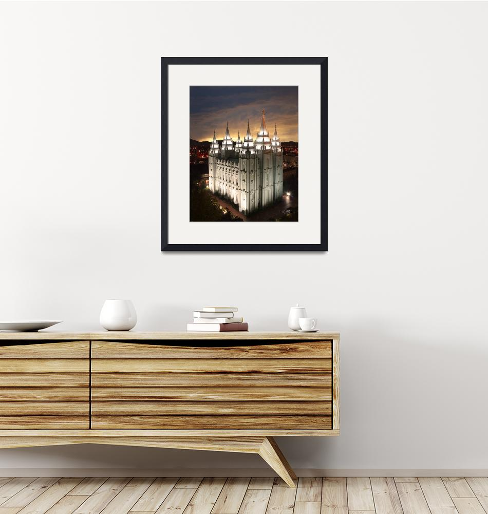 """""""Salt Lake Temple Cloudy Sunset""""  (2008) by lightvoyages"""