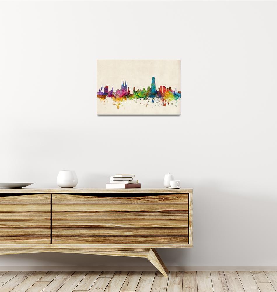 """Barcelona Spain Skyline""  (2013) by ModernArtPrints"