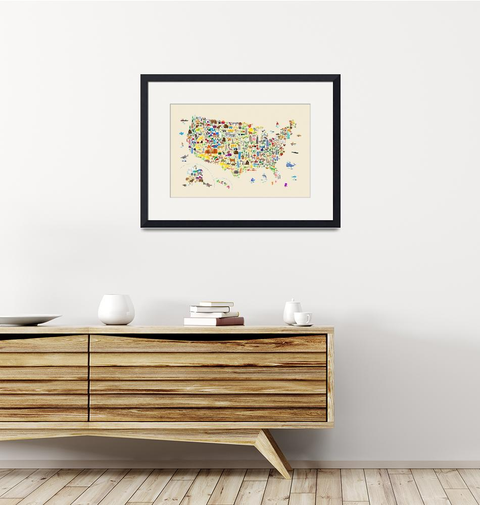 """""""Animal Map of United States for children and kids"""" (2018) by ModernArtPrints"""
