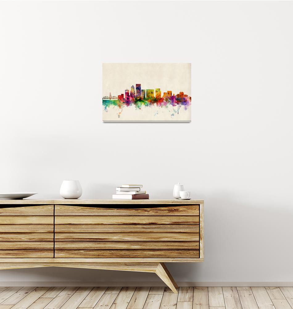 """Portland Oregon Skyline"" (2013) by ModernArtPrints"
