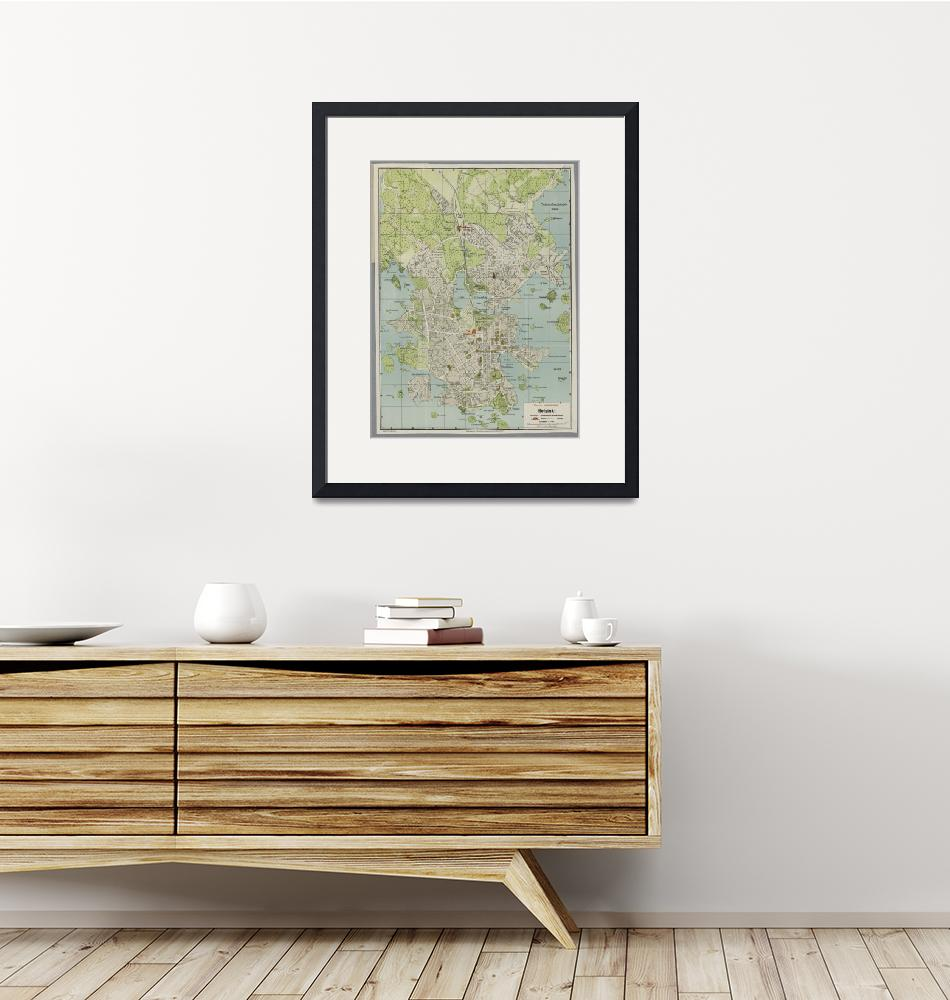 """Vintage Map of Helsinki Finland (1920)""  by Alleycatshirts"