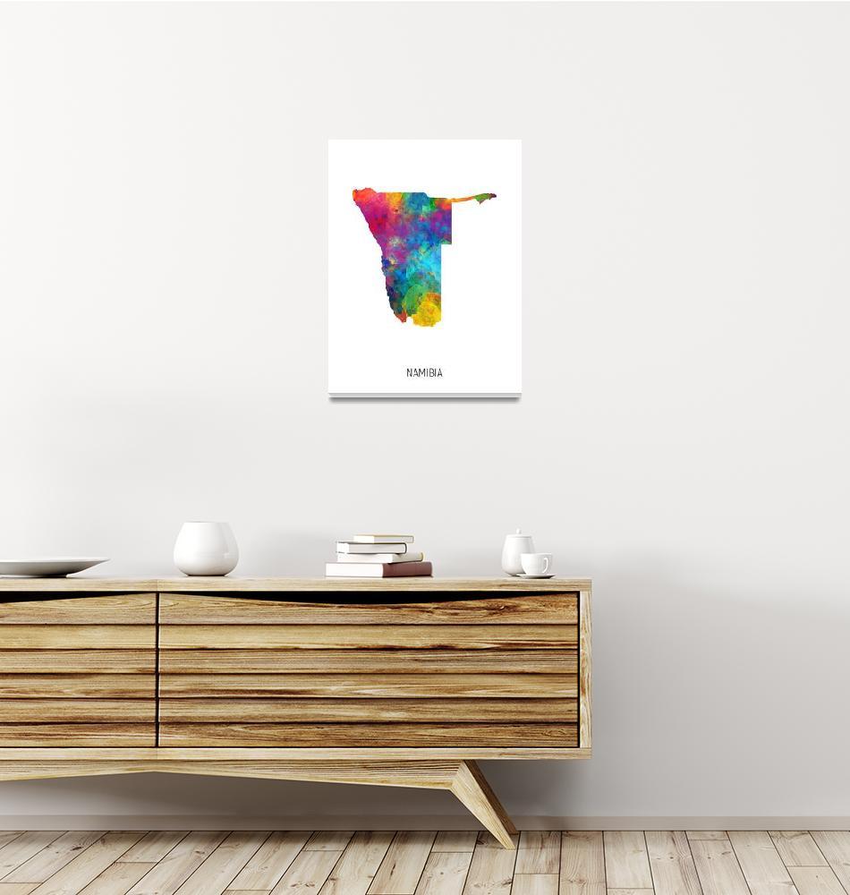 """Namibia Watercolor Map""  (2019) by ModernArtPrints"
