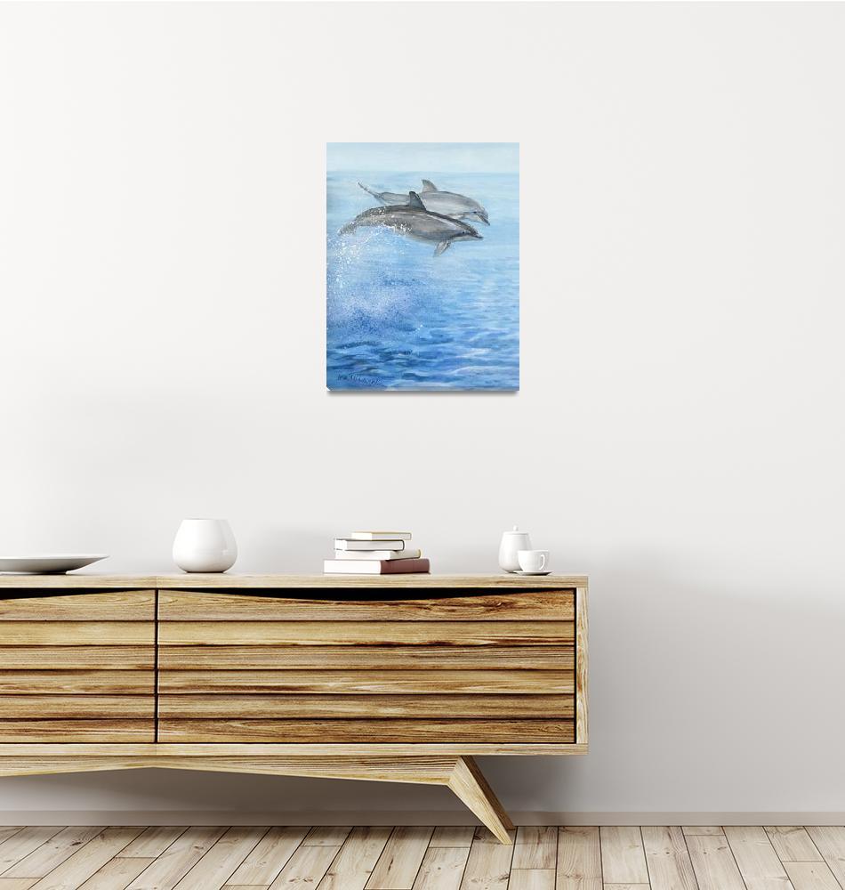 """playful dolphins""  (2005) by LisaMclaughlin"