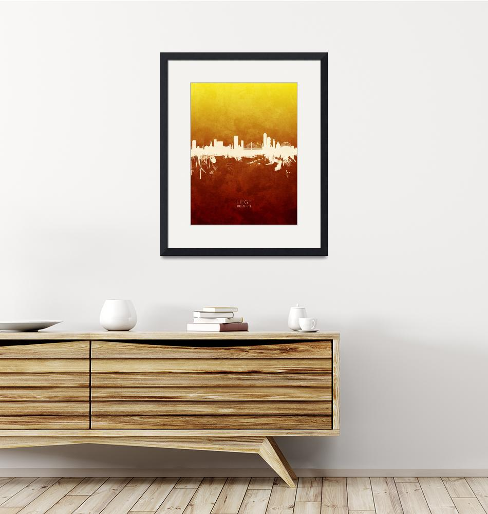 """Liege Belgium Skyline""  (2019) by ModernArtPrints"