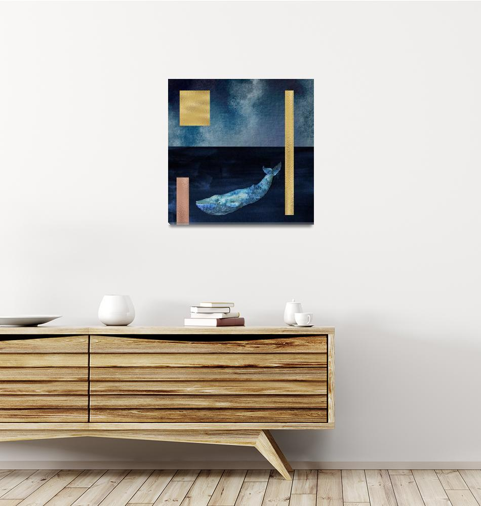 """Blue Whale: Gold, Copper And Deep Blue""  by fineartgallery"