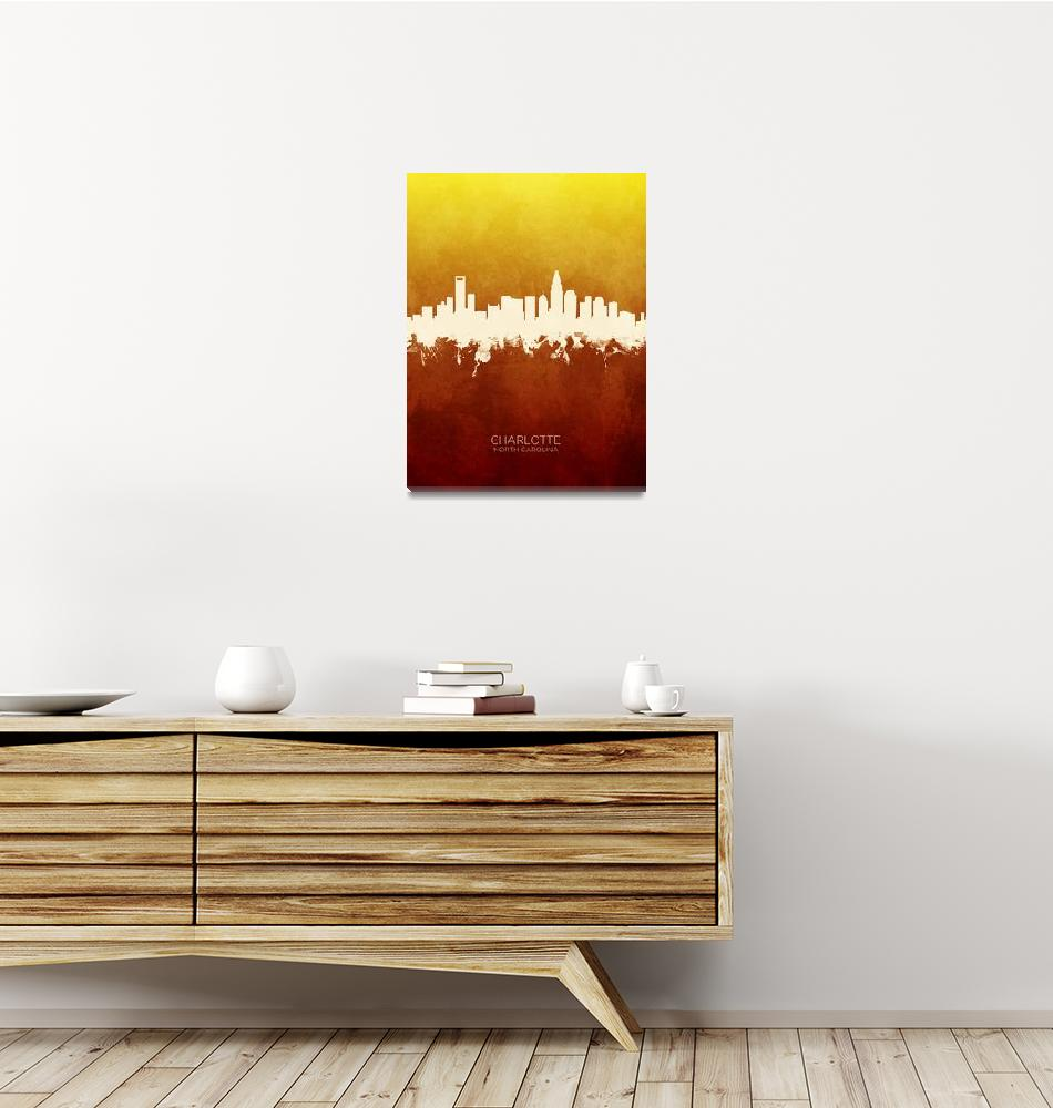 """Charlotte North Carolina Skyline""  (2019) by ModernArtPrints"