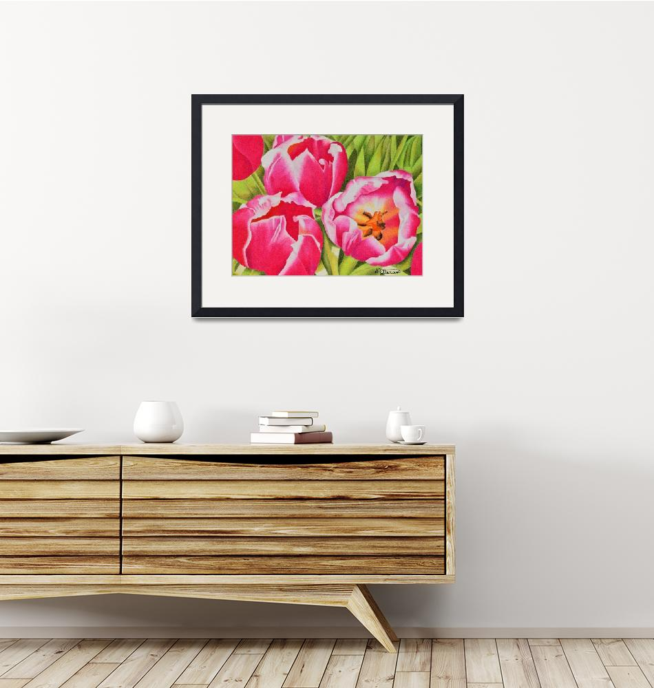 """""""Pink Tulips""""  (2017) by sharonpattersonsart"""