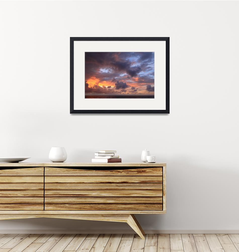 """""""Dawn Clouds and Sky over the Bahamas Sea""""  (2016) by RoupenBaker"""