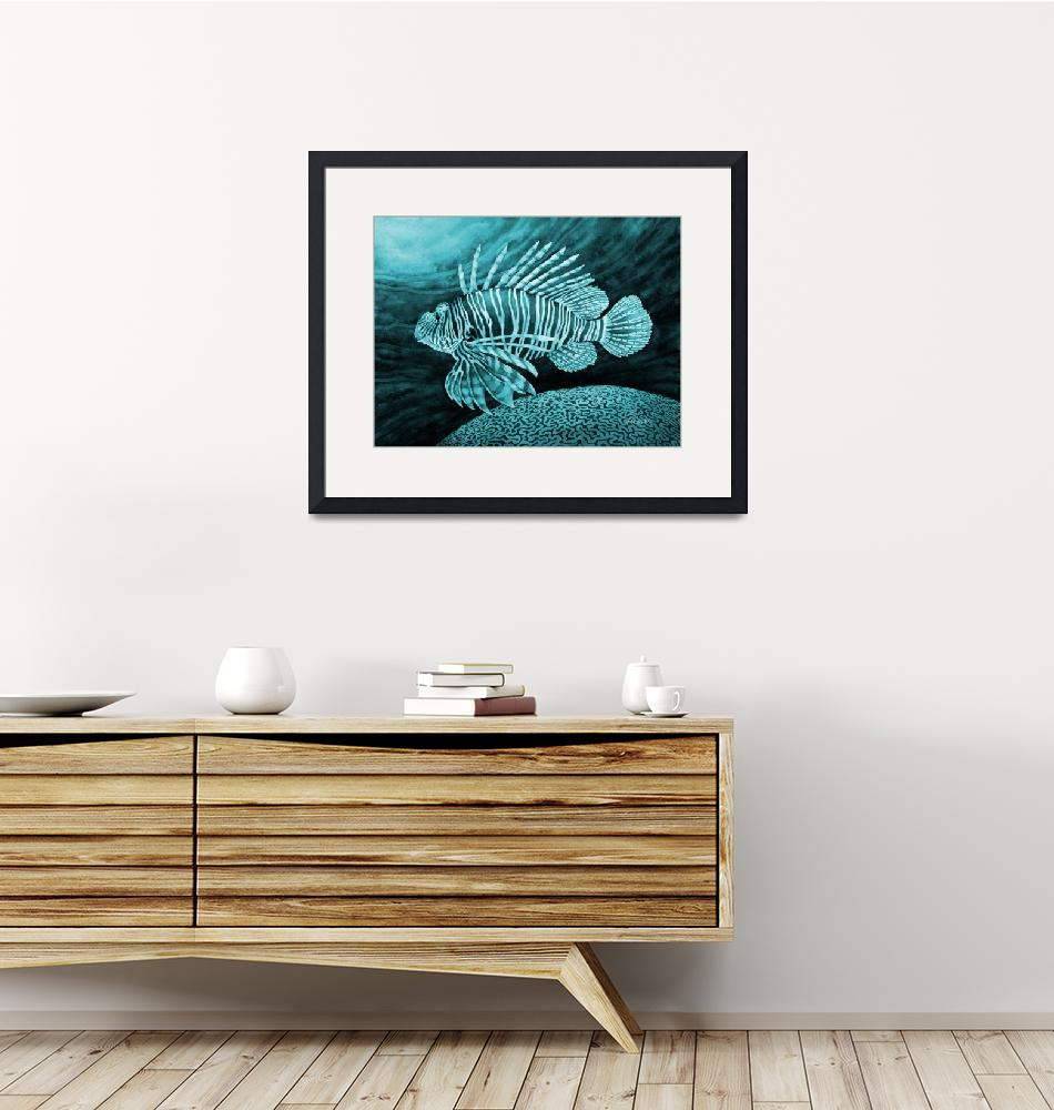 """Lionfish in Blue""  by HaileyWatermedia"