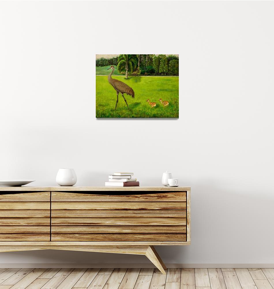 """Sandhill crane with chicks""  (2012) by Zinastr"