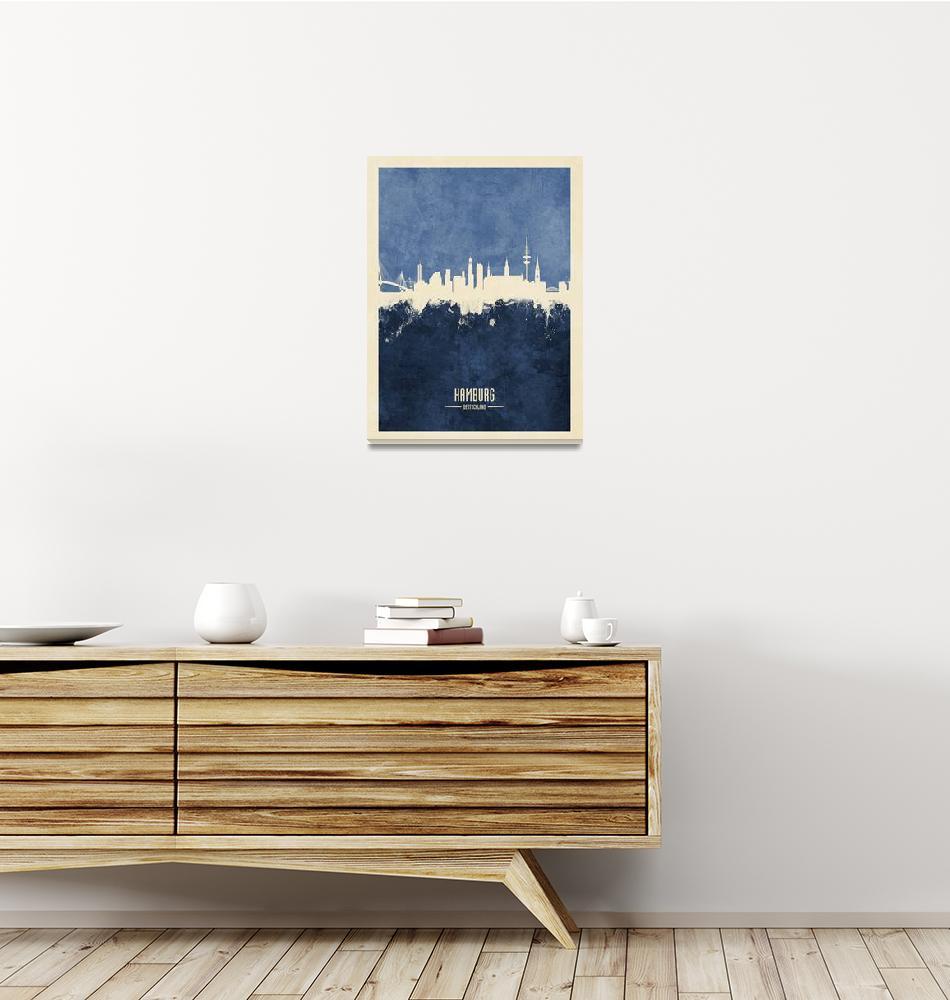 """""""Hamburg Germany Skyline""""  (2018) by ModernArtPrints"""